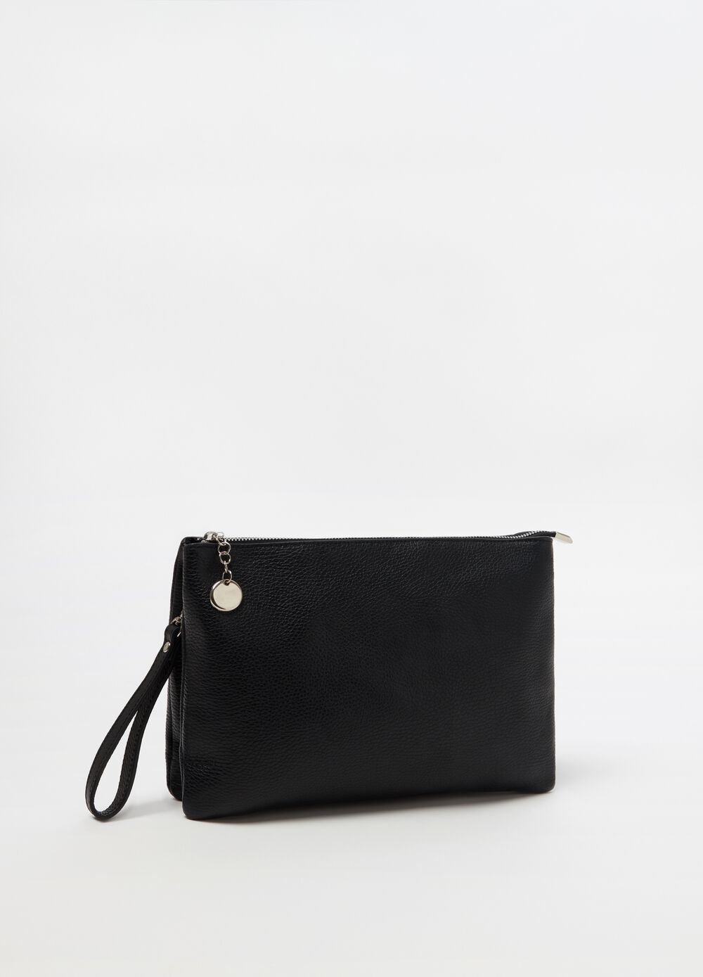 Leather clutch bag with detachable shoulder strap