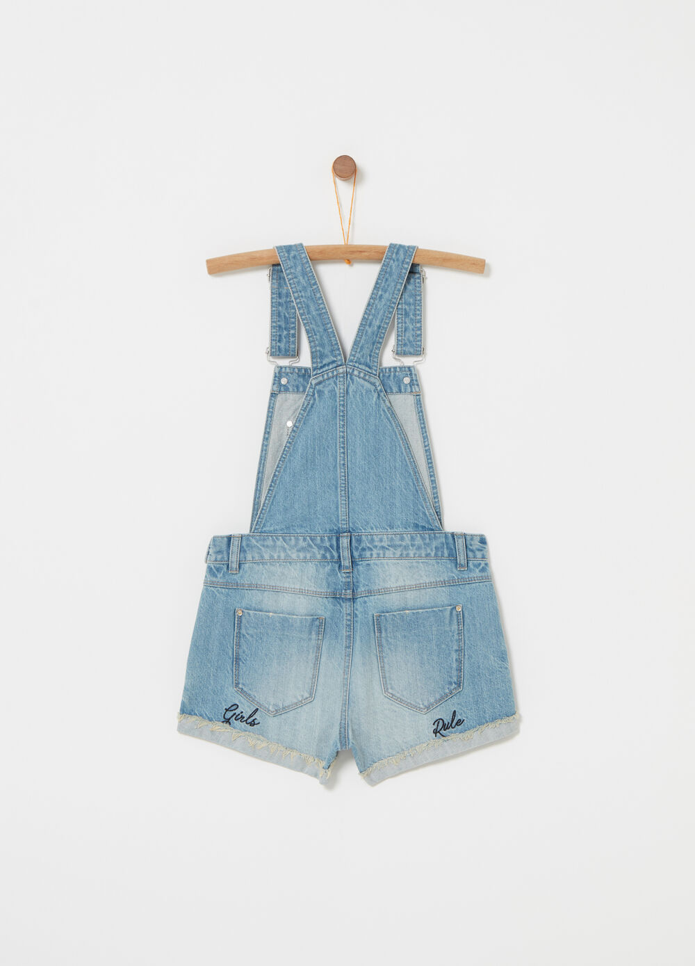 Vintage-effect denim dungarees with embroidery