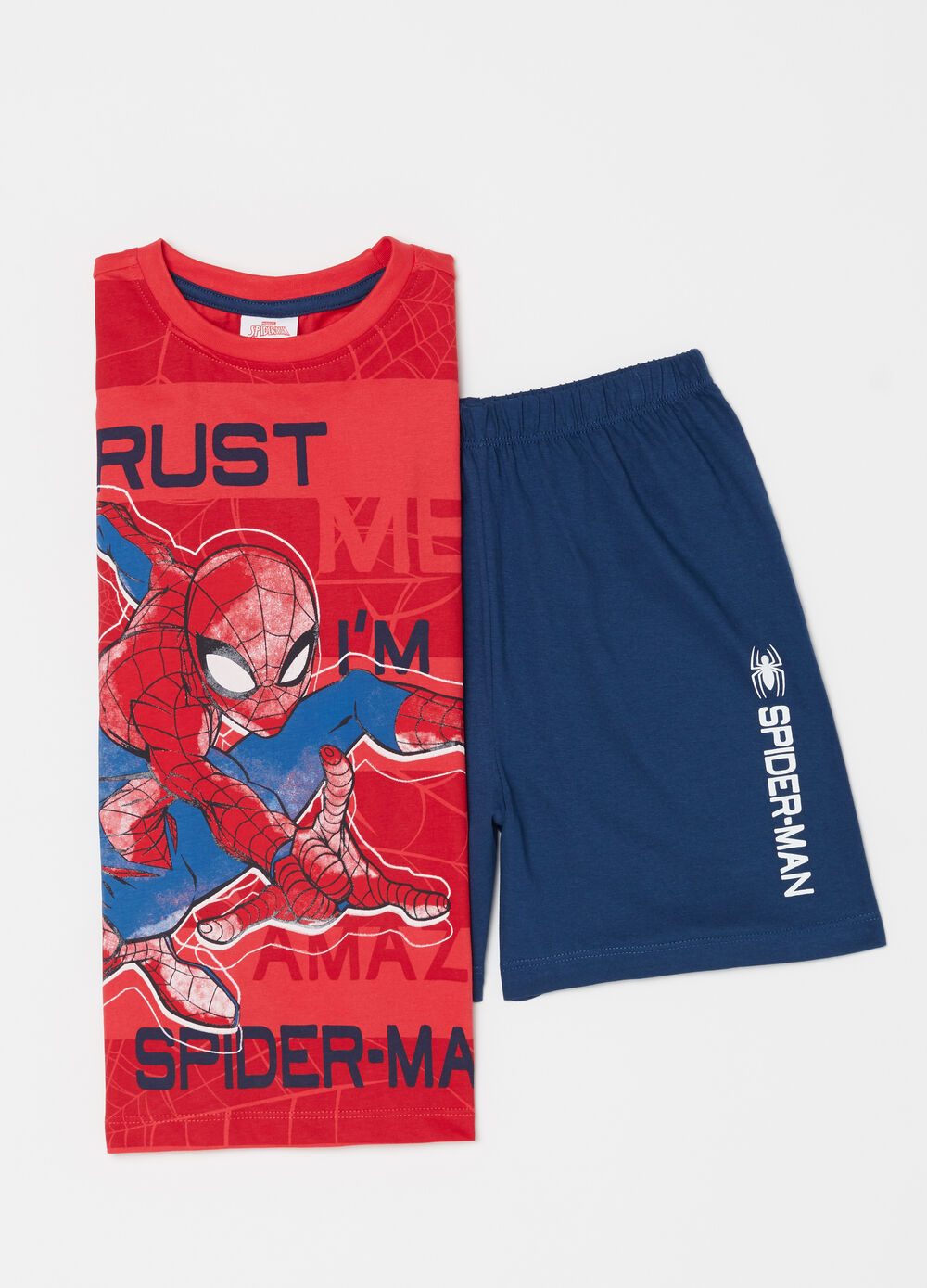 Marvel biocotton pyjamas with top and shorts