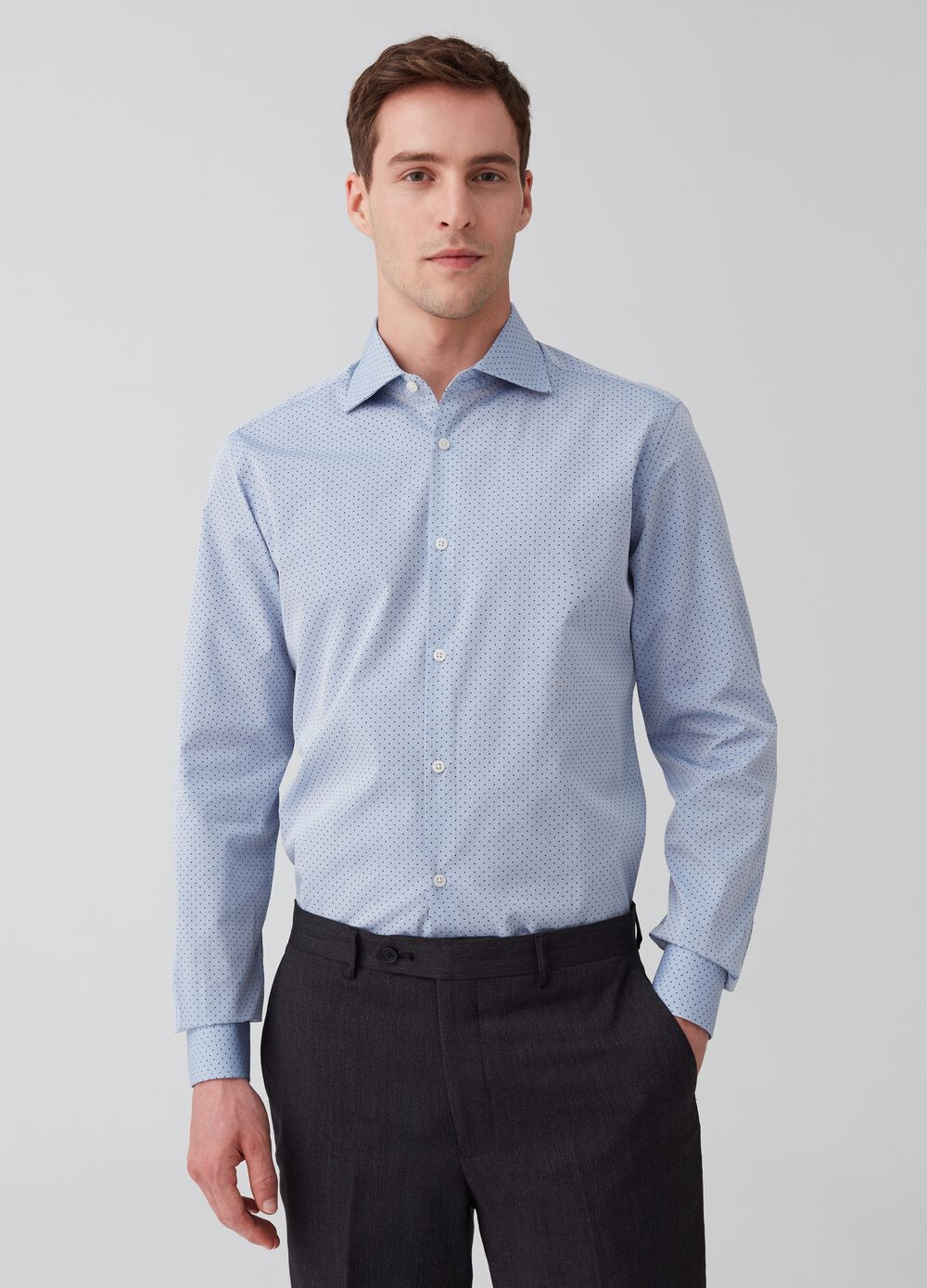 Slim-fit shirt in compact-weave dobby