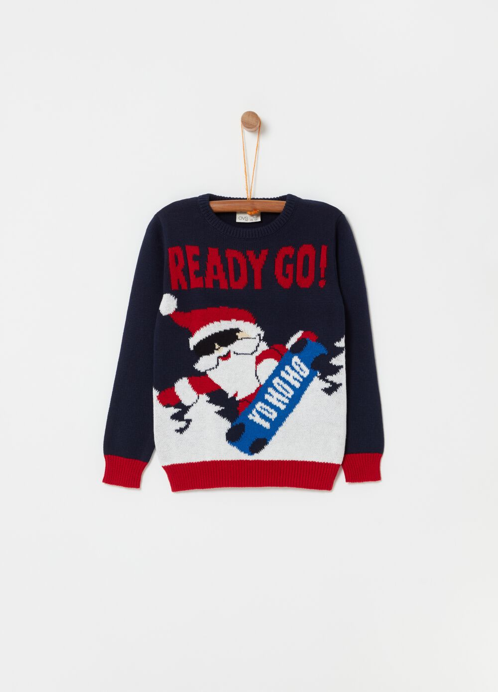 Crew-neck top with Father Christmas design