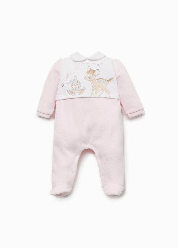 Cotton blend onesie with Bambi print