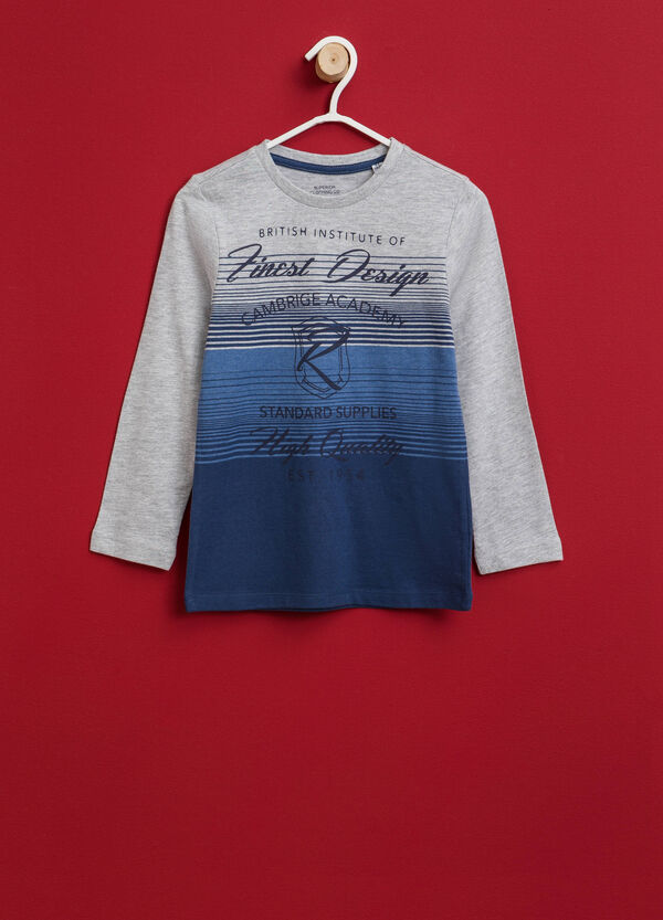 T-shirt a righe con stampa lettering | OVS