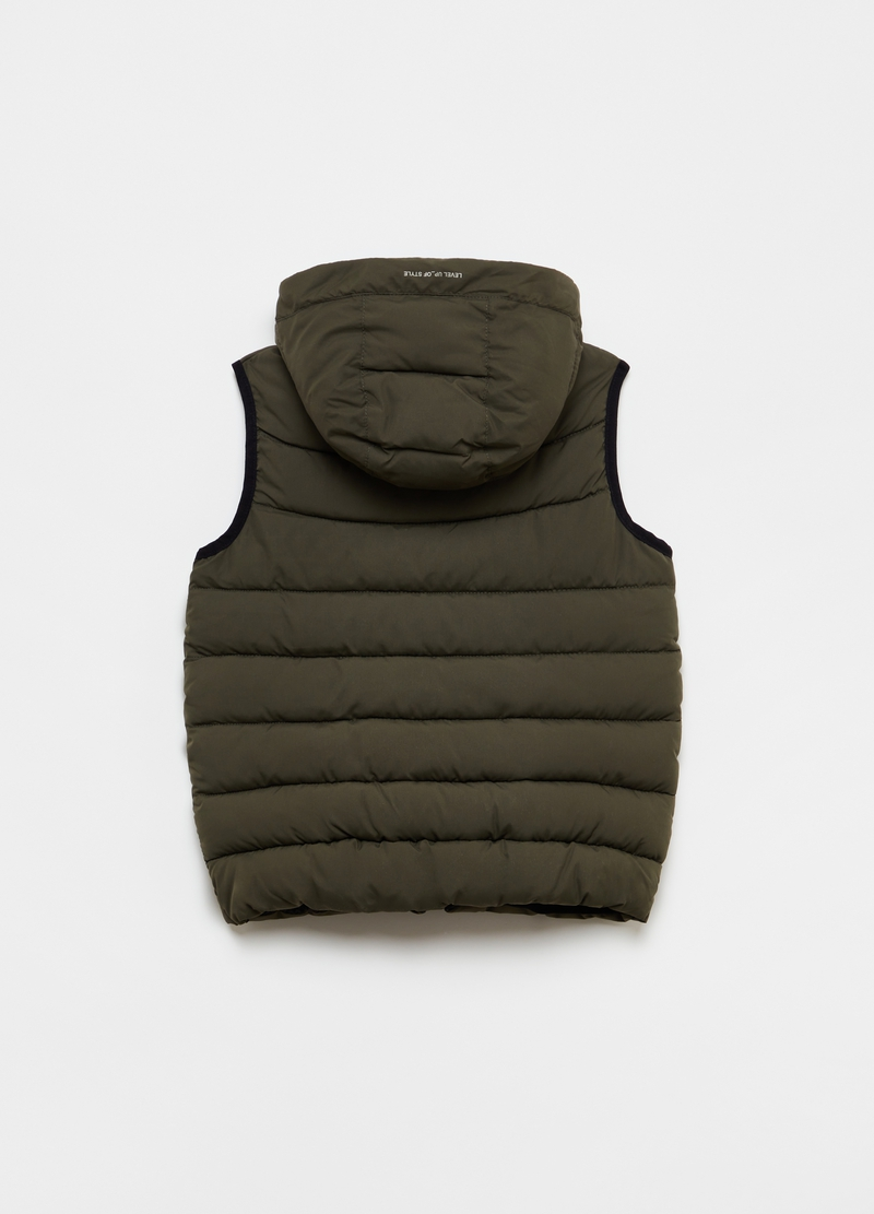 Padded gilet with high neck and hood image number null
