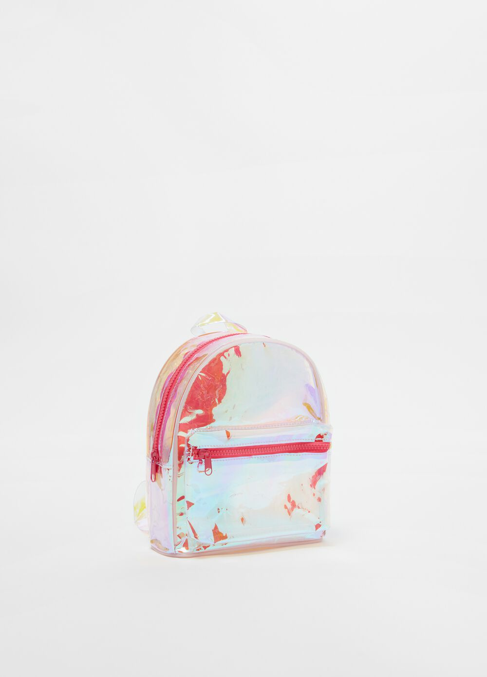 Iridescent effect transparent backpack