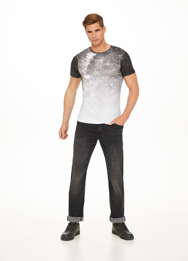 All-over misdyed-effect print T-shirt