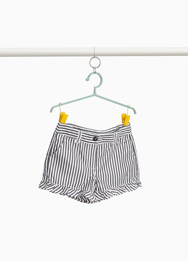 Cotton blend striped shorts with ruffles