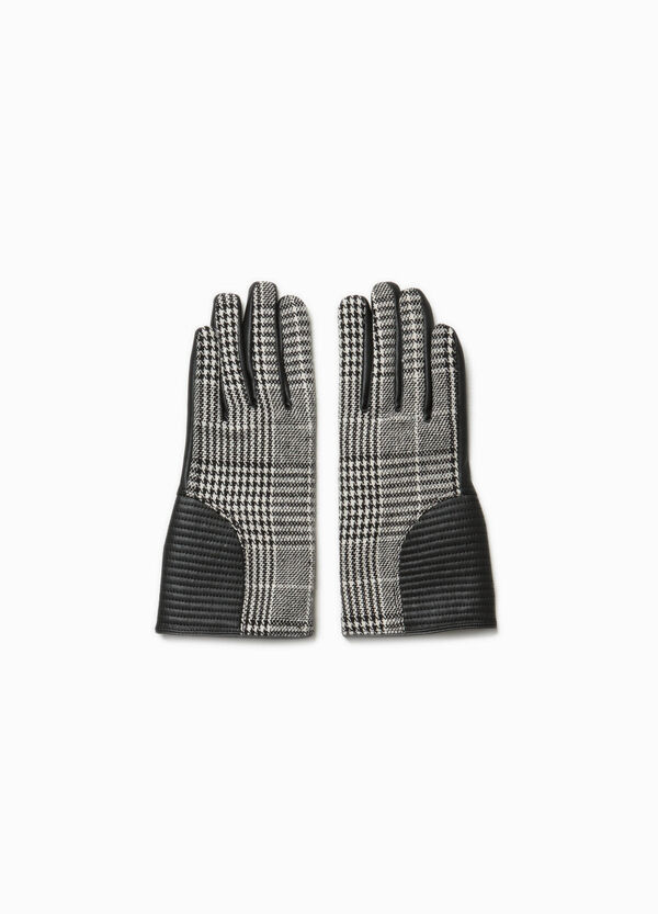 Gloves with stitching and hounds' tooth pattern | OVS