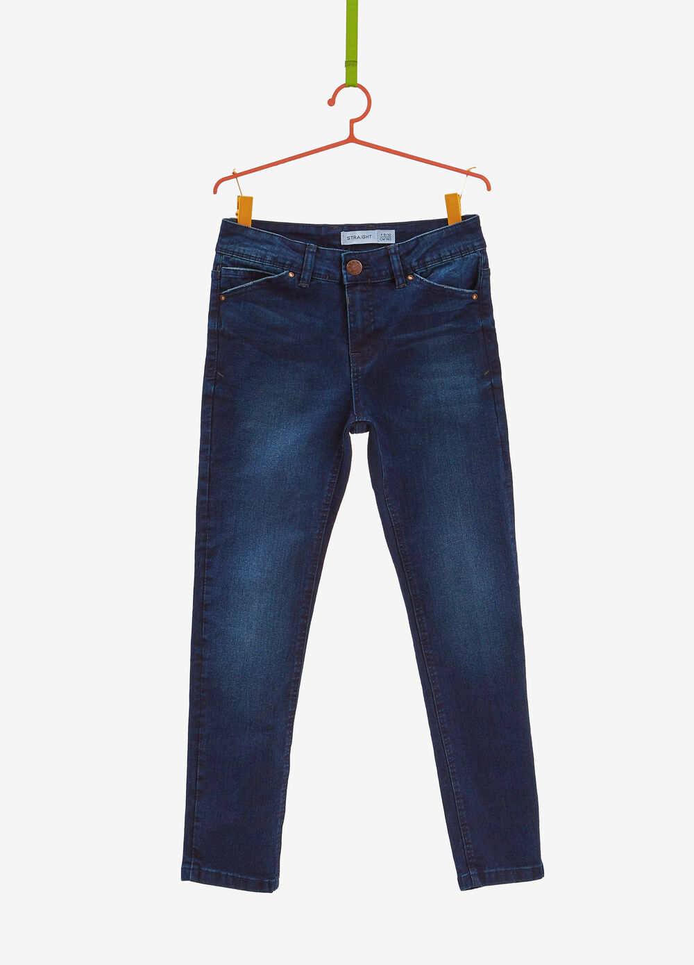 Straight-fit stretch jeans with fading