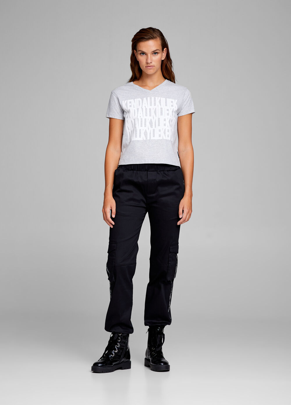 K+K for OVS melange crop T-shirt