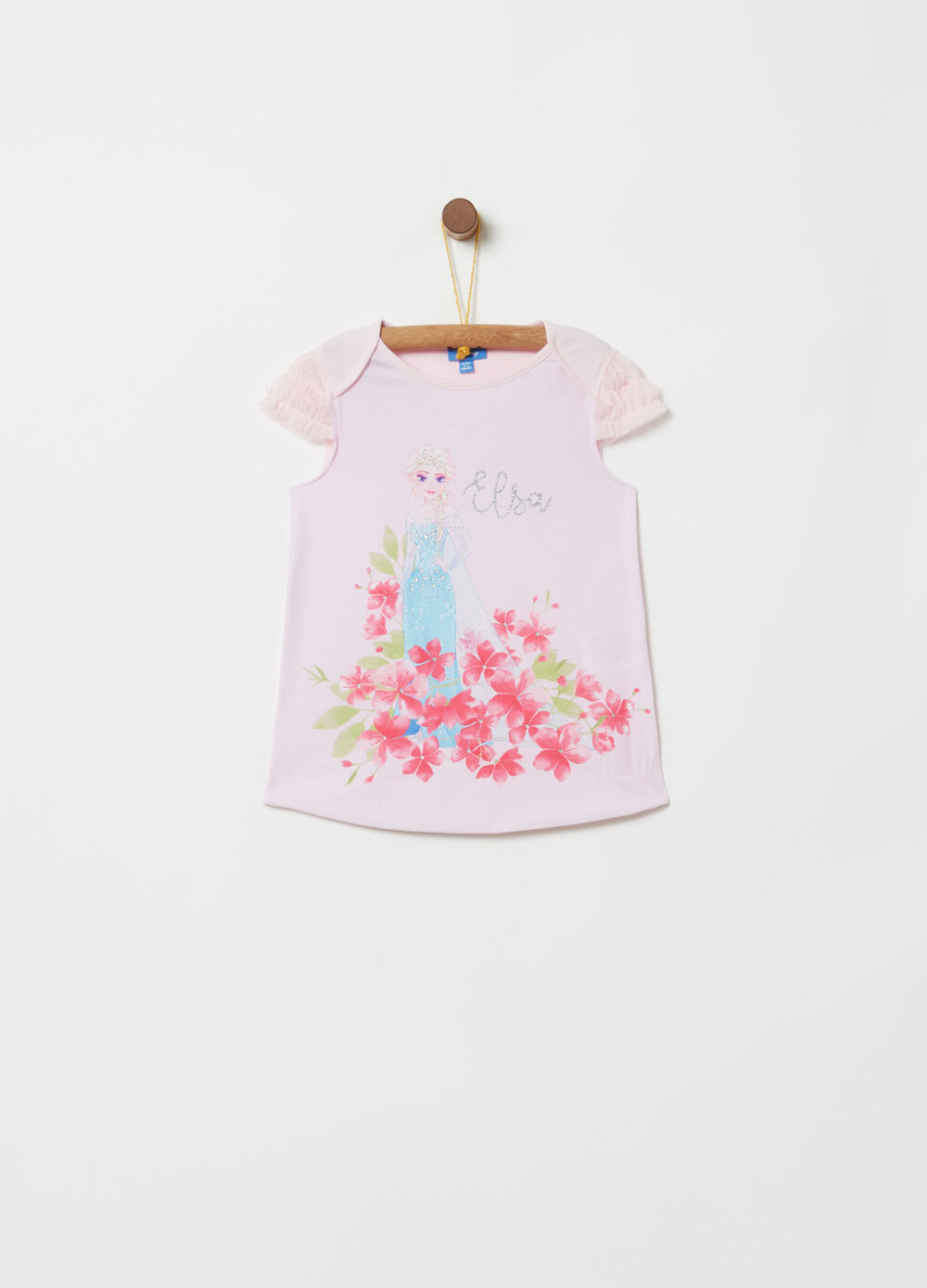 T-shirt with sleeves in tulle with Disney print