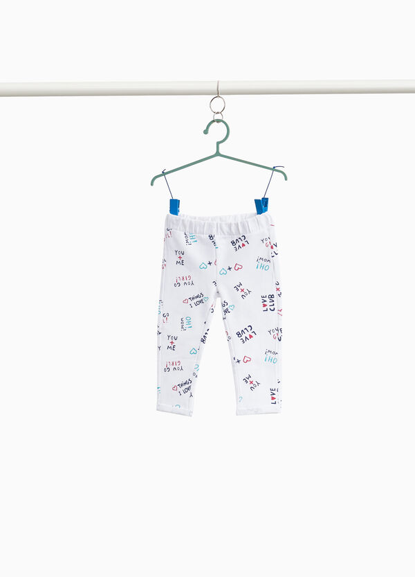 Stretch trousers with lettering pattern