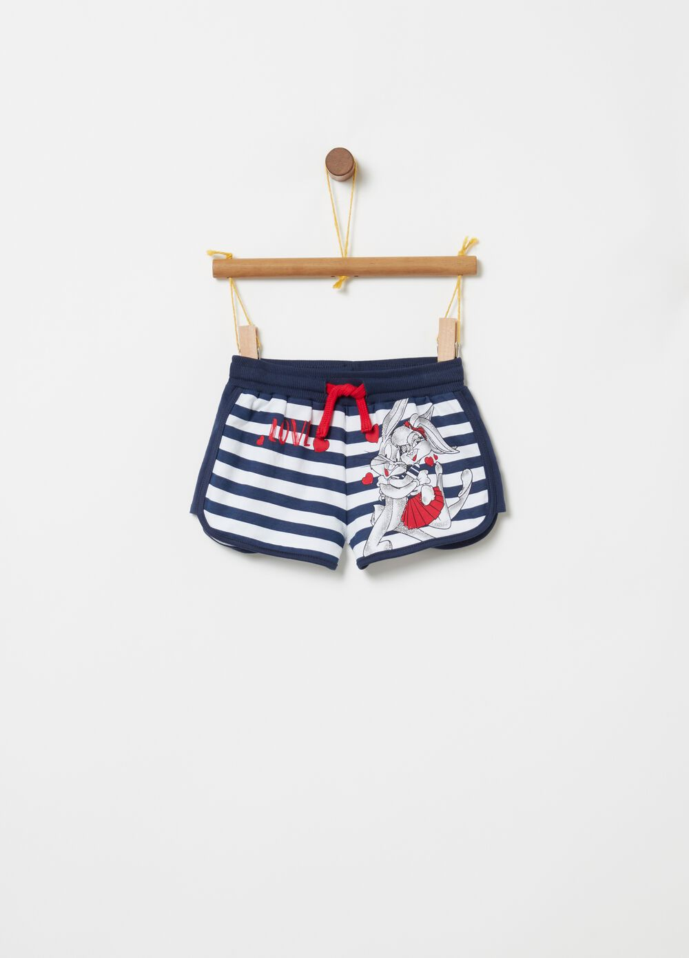 Shorts with Bugs Bunny print and striped pattern