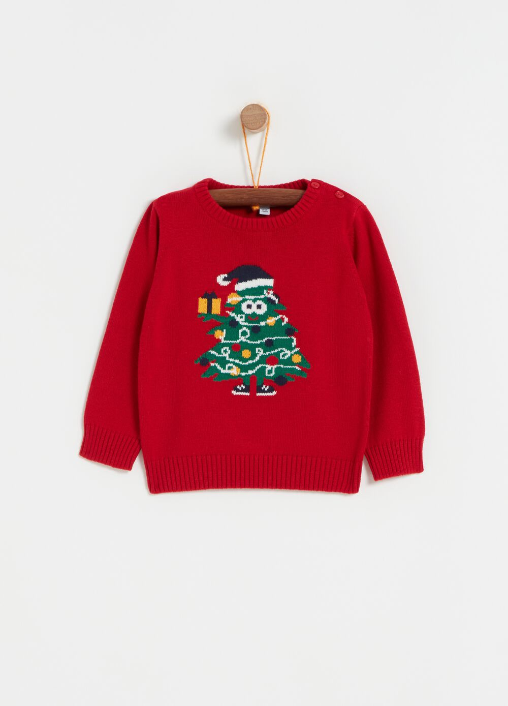 Knitted crew-neck top with Christmas tree embroidery