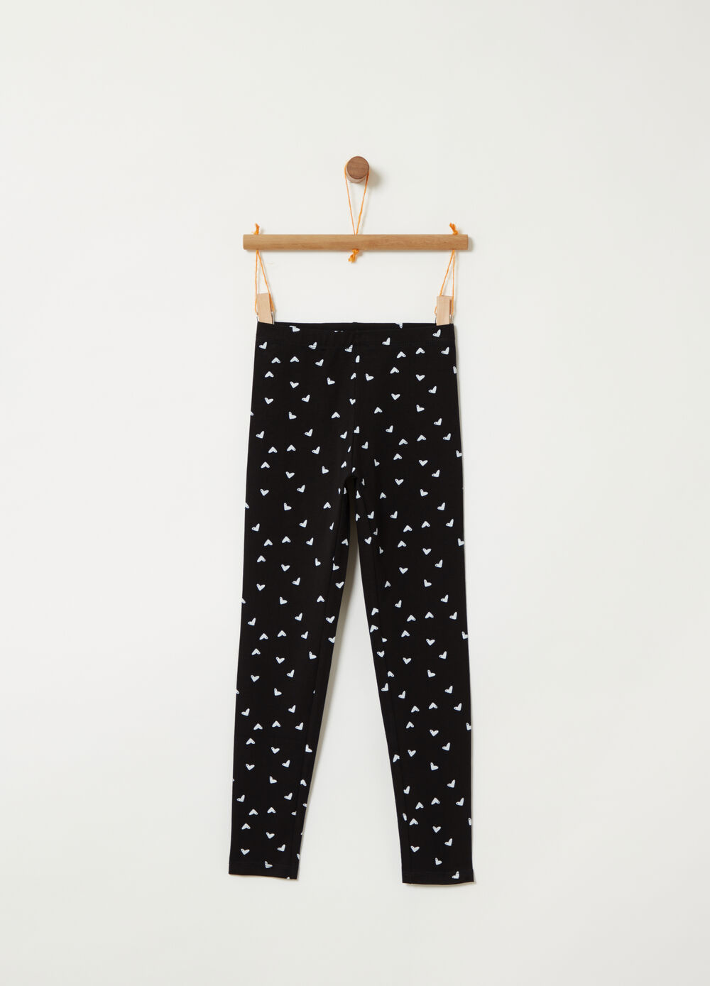 Jersey leggings with hearts print