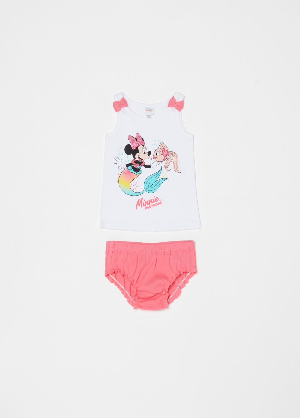 Underwear vest and briefs set with Minnie Mouse print