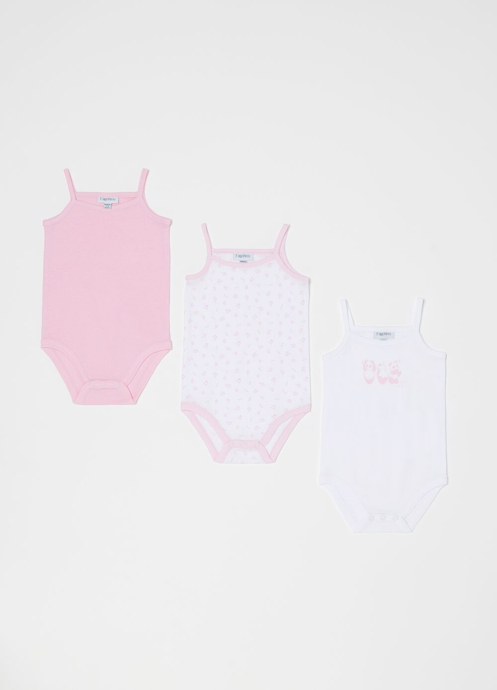 Three-pack bodysuits with spaghetti straps