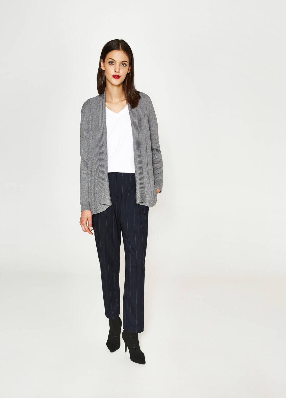 Shawl-neck viscose blend cardigan