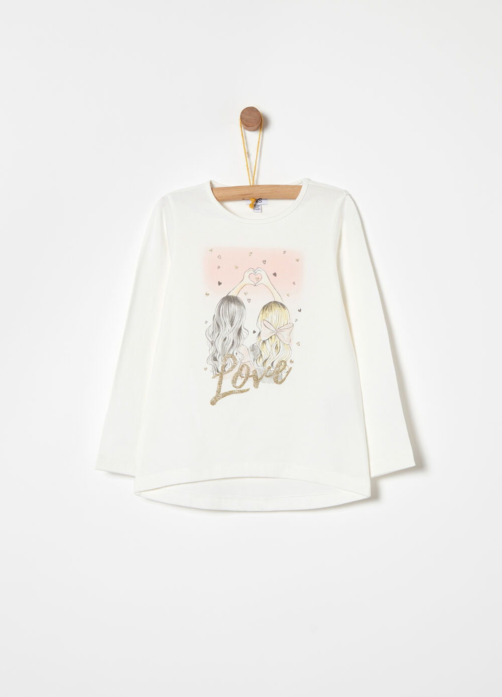 Peach-skin jersey T-shirt with glitter details