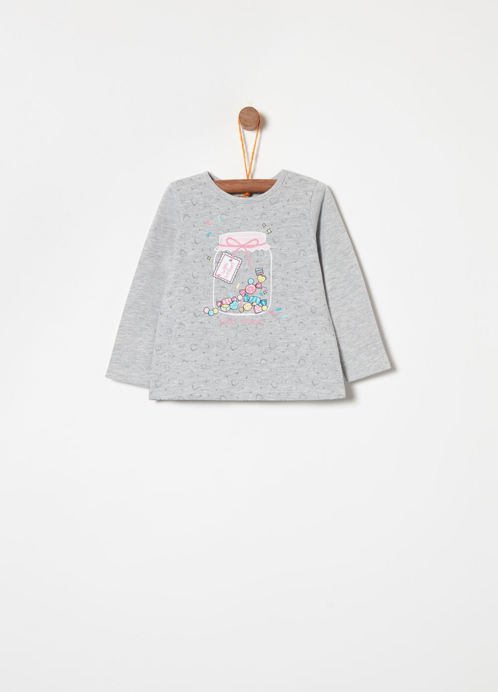 T-shirt with glitter, print and long sleeves