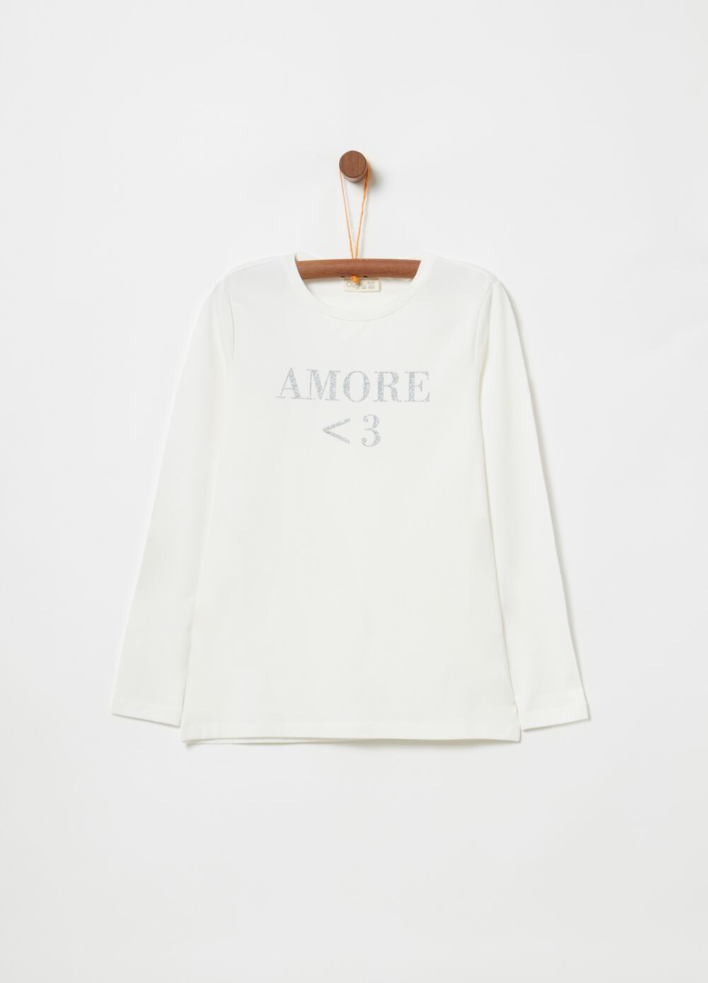 Stretch cotton T-shirt with glitter lettering