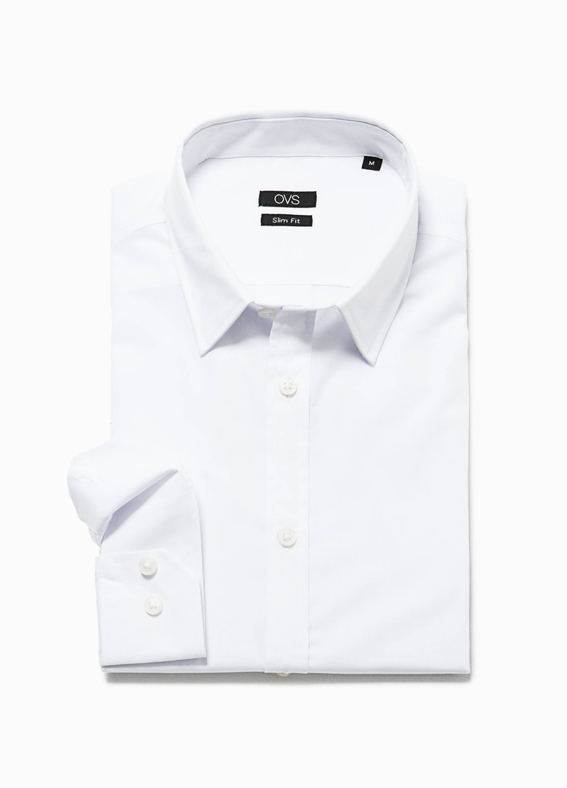 Slim-fit casual shirt in cotton blend image number null