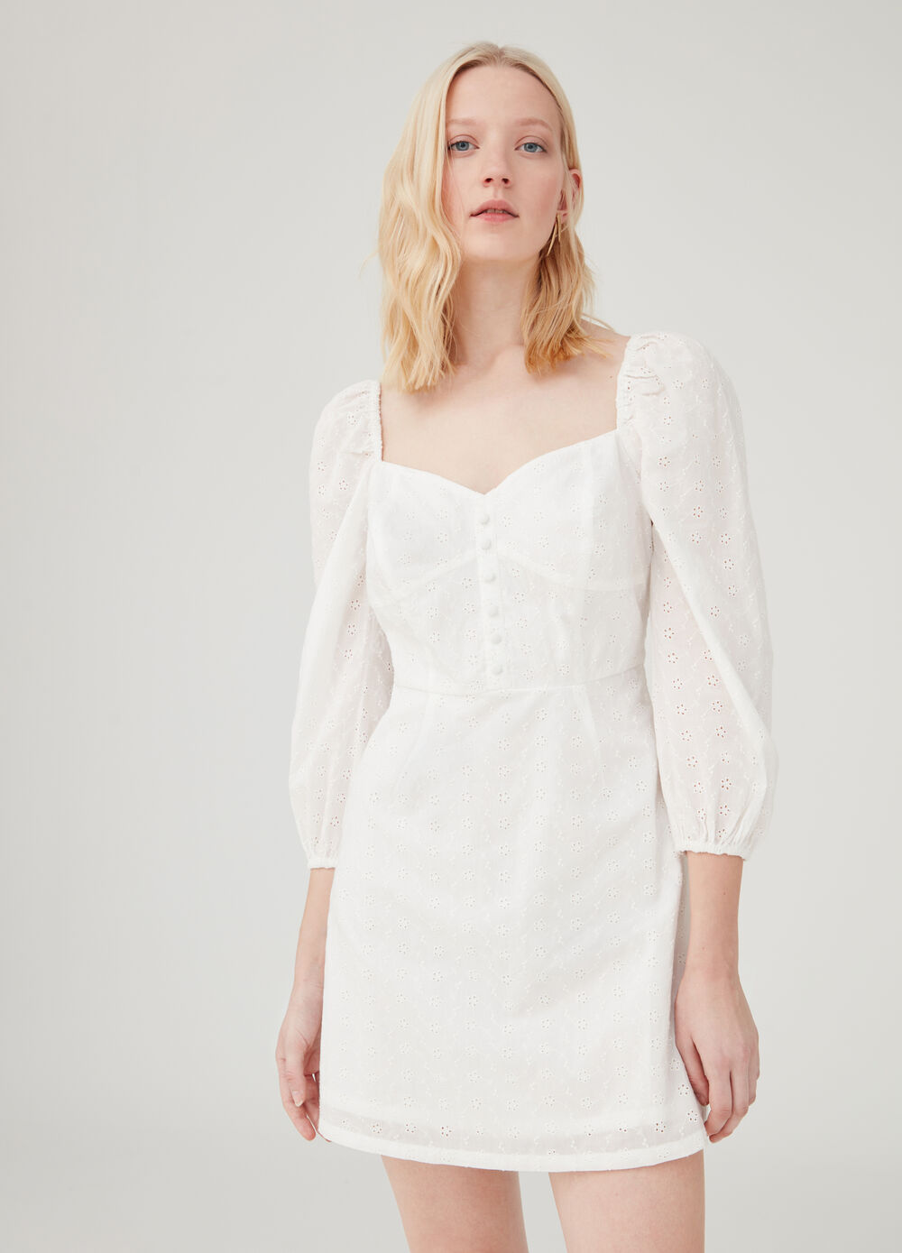Broderie anglaise dress with three-quarter sleeves