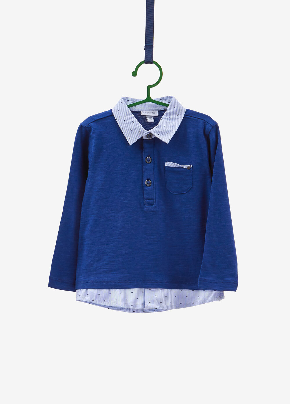 Polo shirt with striped patterned faux layer.