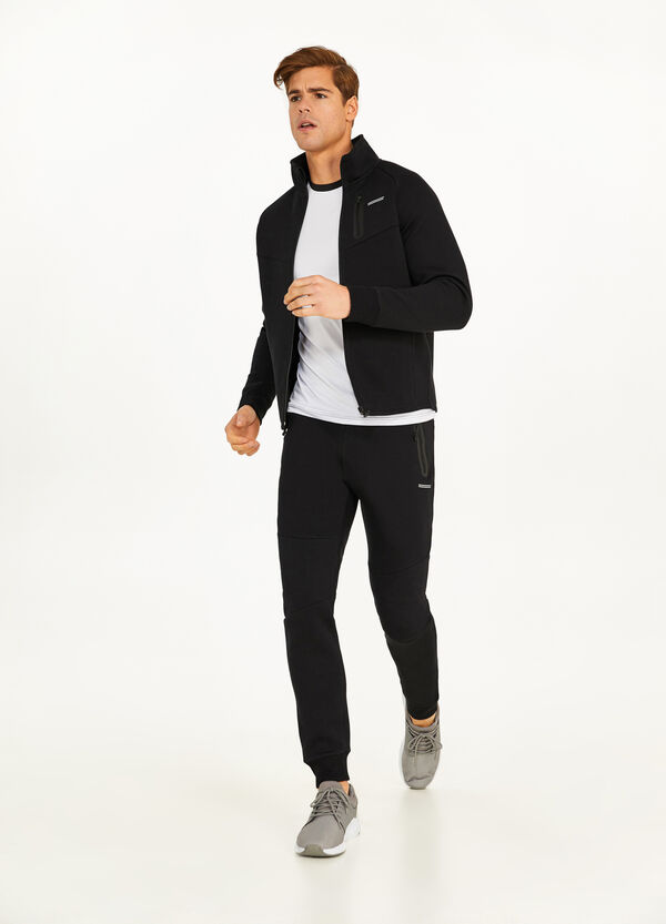 Cotton blend hoodie with high neck