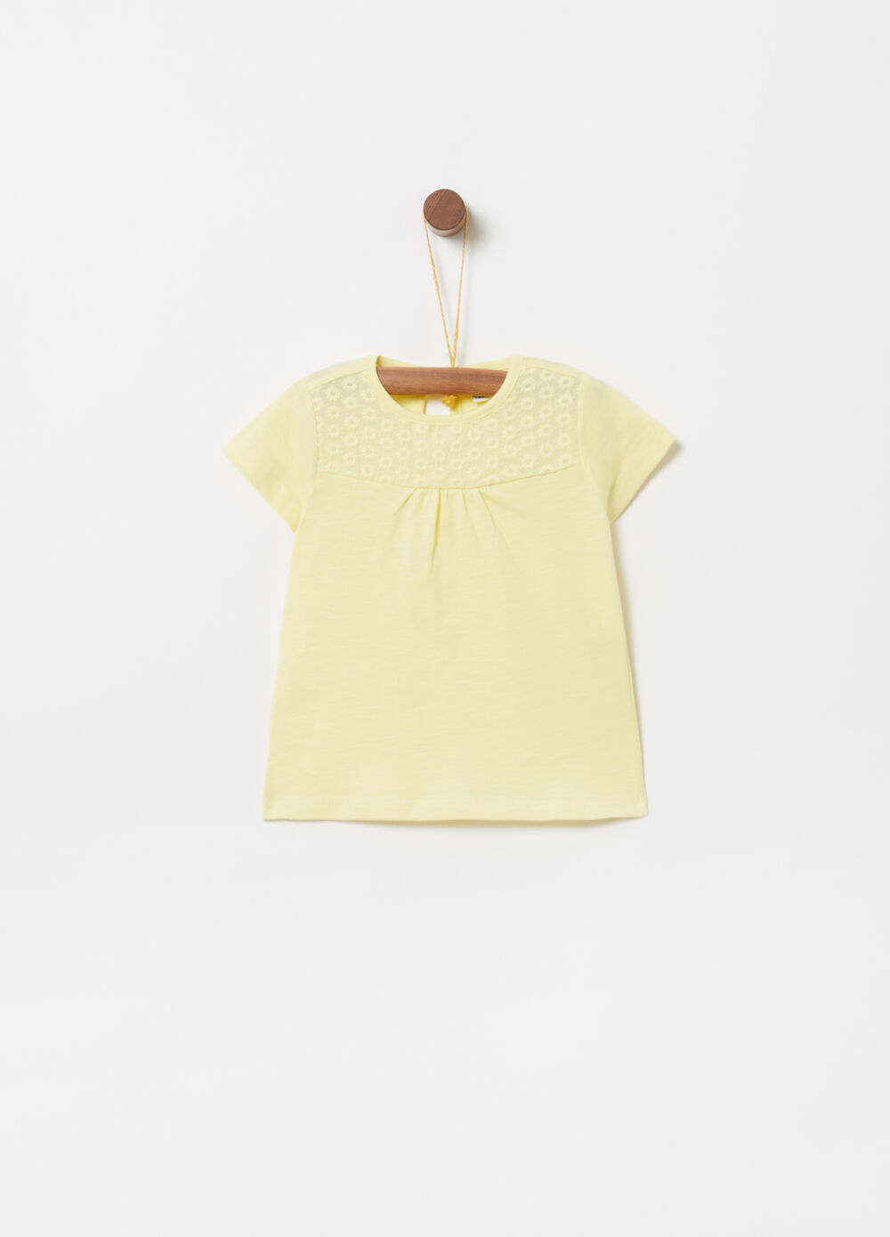 Organic cotton T-shirt with floral embroidery