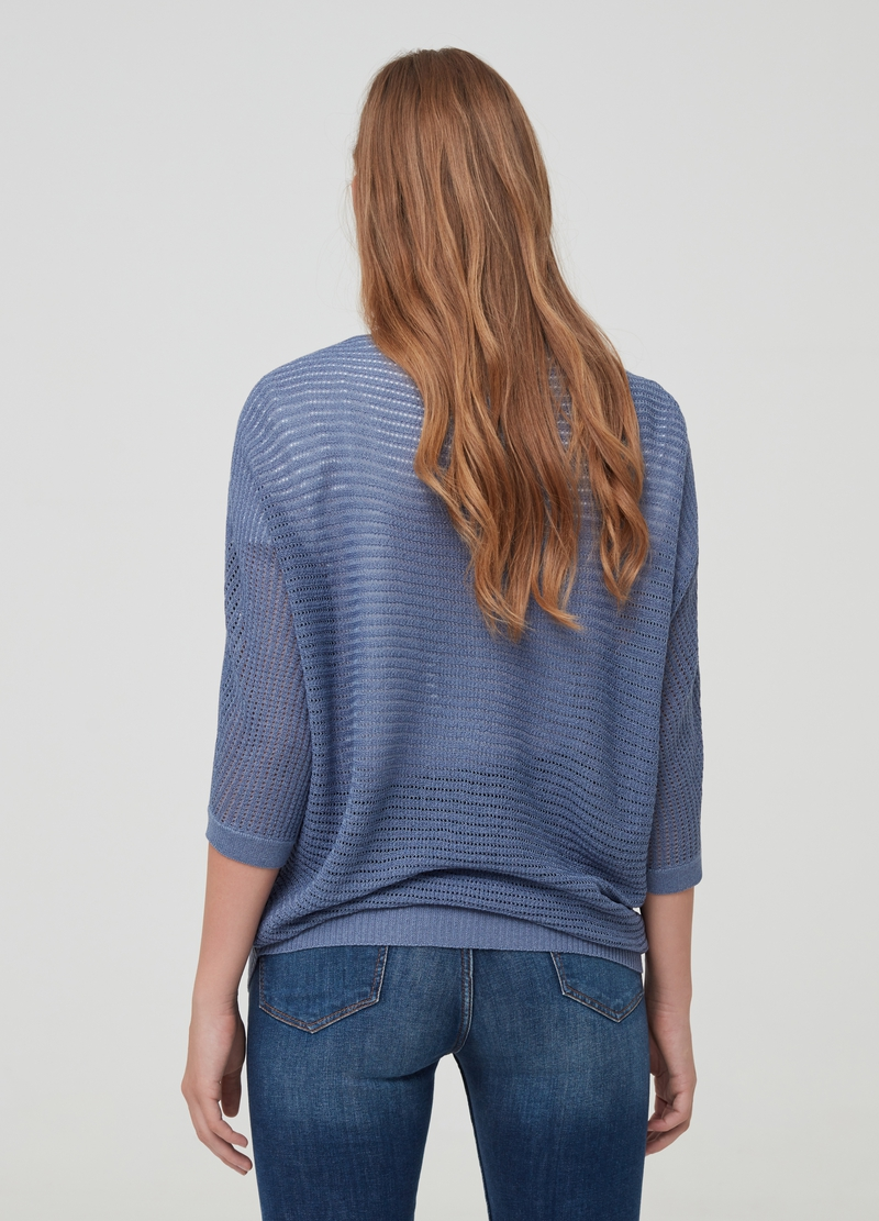 Top with lurex details and openwork weave image number null