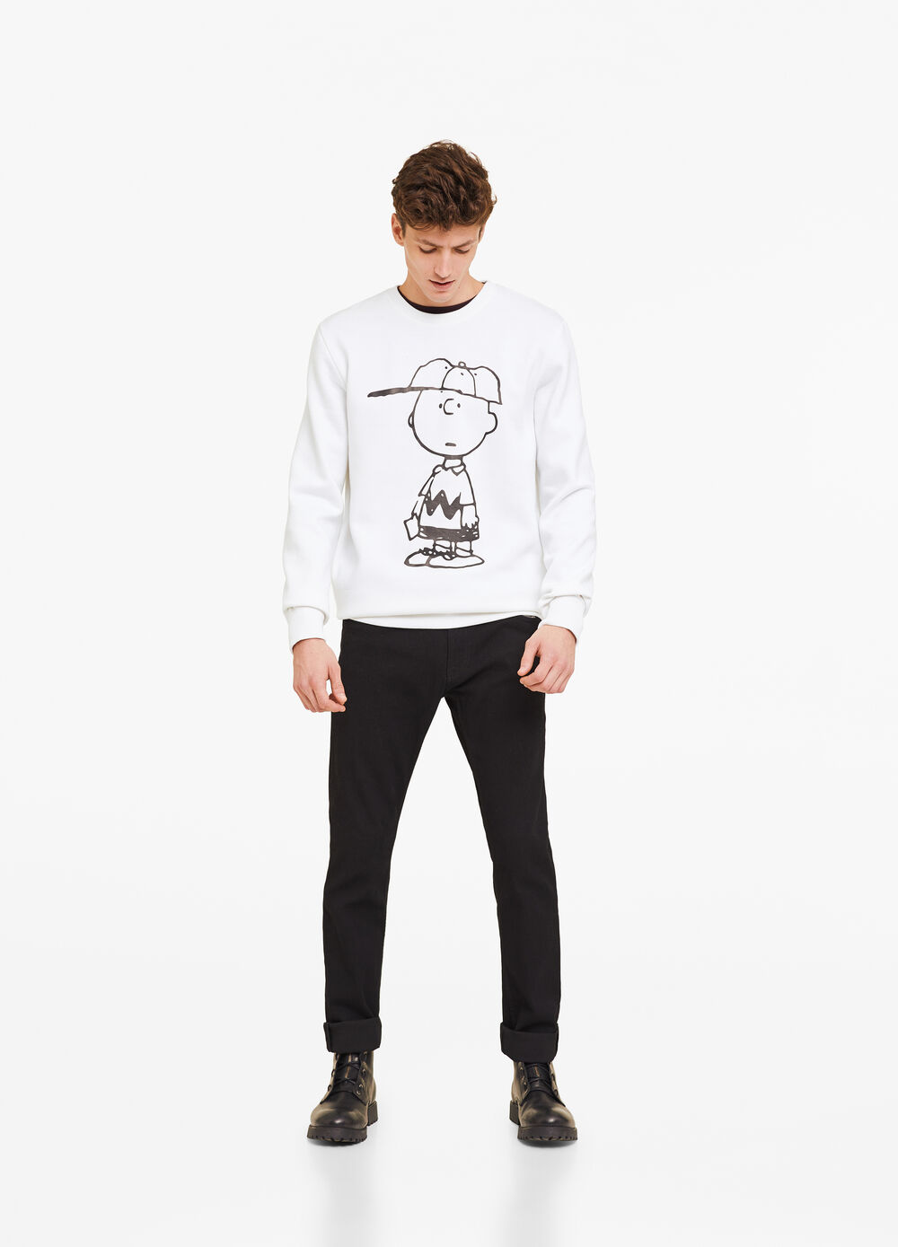Cotton blend hoodie with Peanuts print