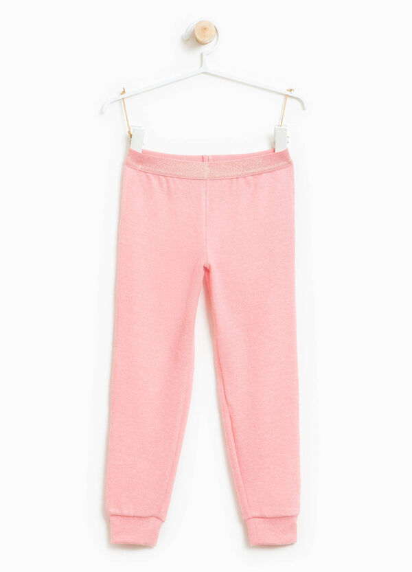 Viscose blend trousers with glitter waist | OVS