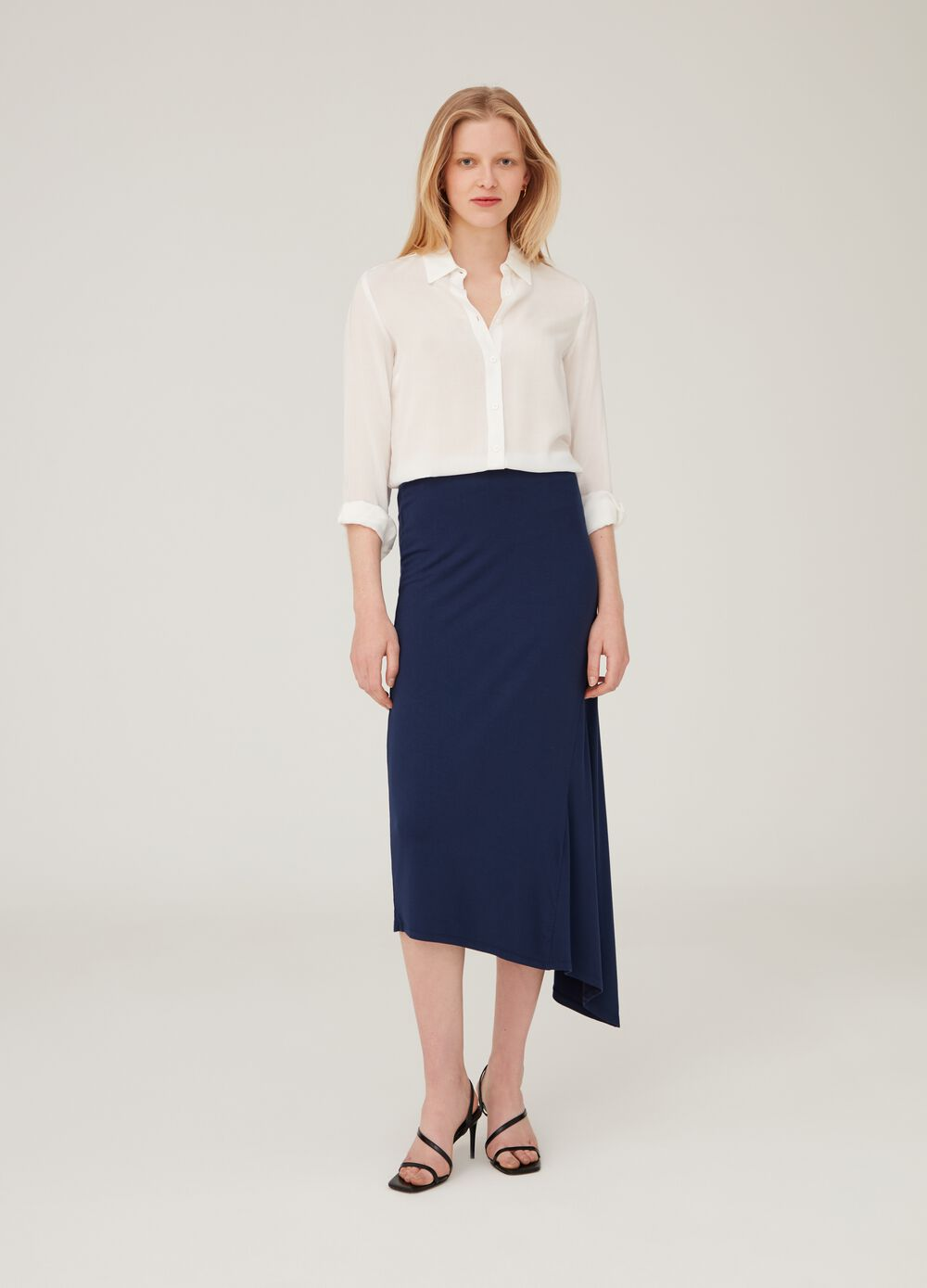 Asymmetric stretch viscose skirt