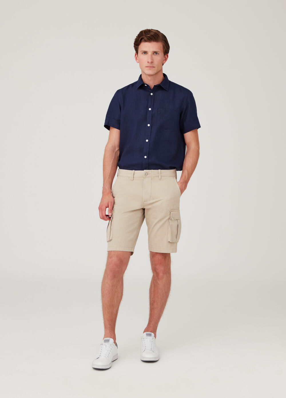 100% cotton cargo-style chino shorts