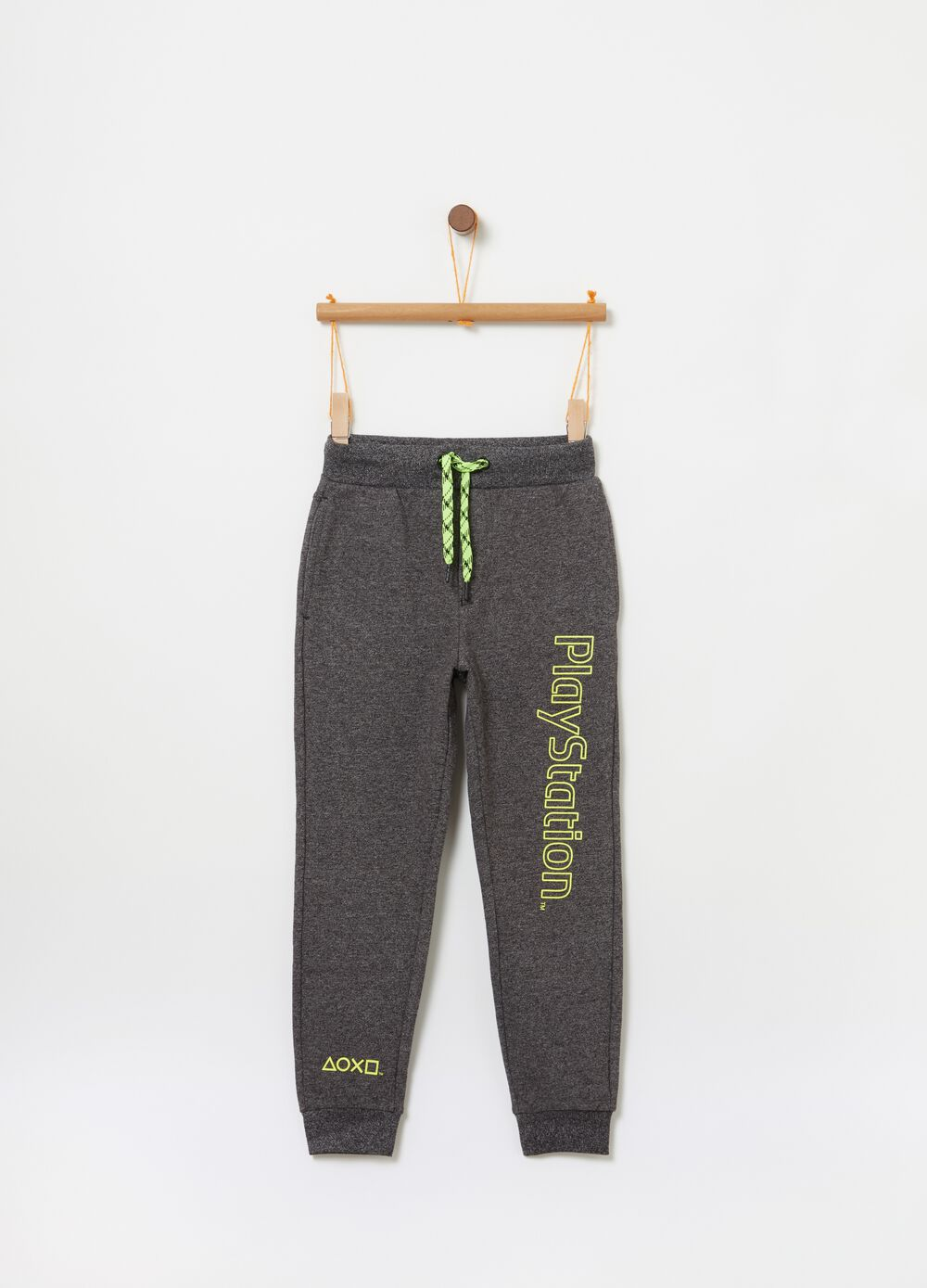Trousers with rubberised Playstation print