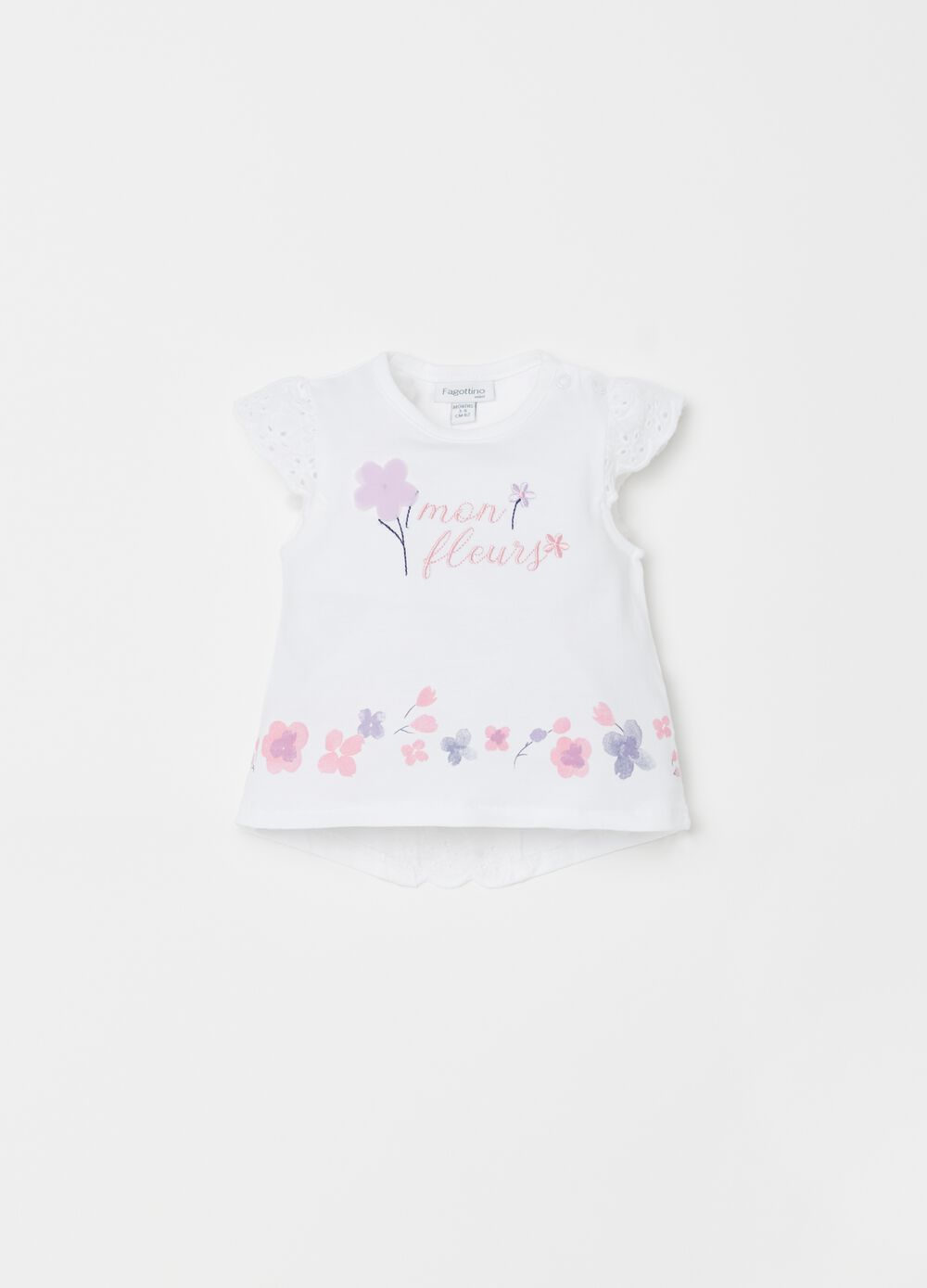Jersey T-shirt with broderie anglaise, print and embroidery