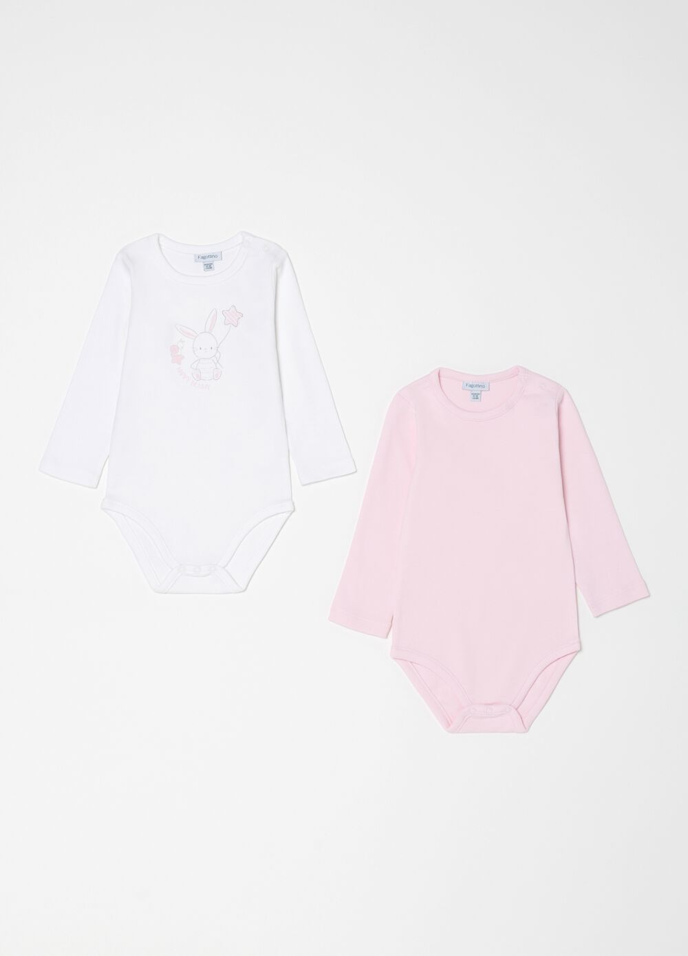 Two-pack bodysuits in 100% organic cotton with print