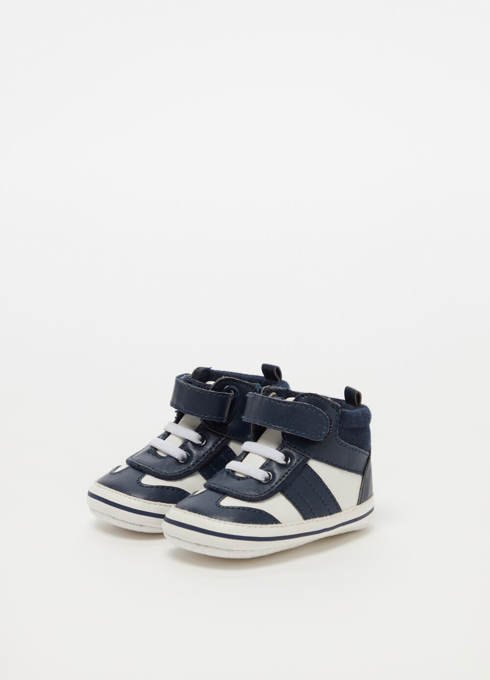 Two-tone sneakers with laces and Velcro
