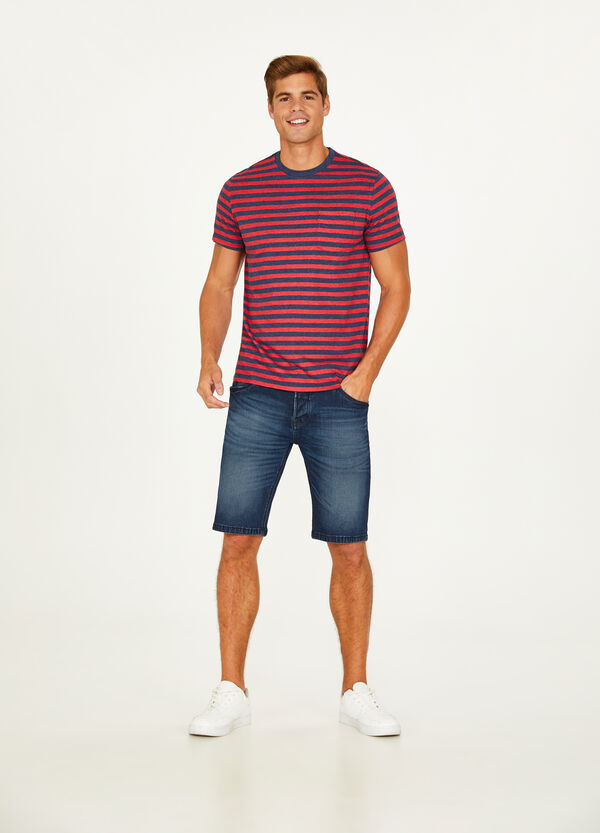 Striped cotton blend T-shirt with pocket