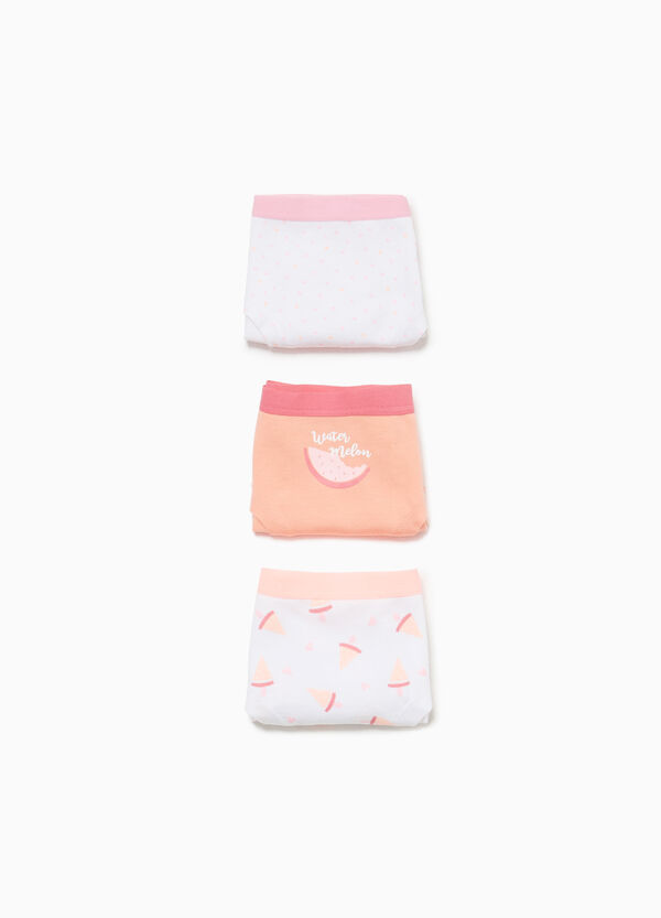 Three-pack stretch French knickers with seeds and watermelon