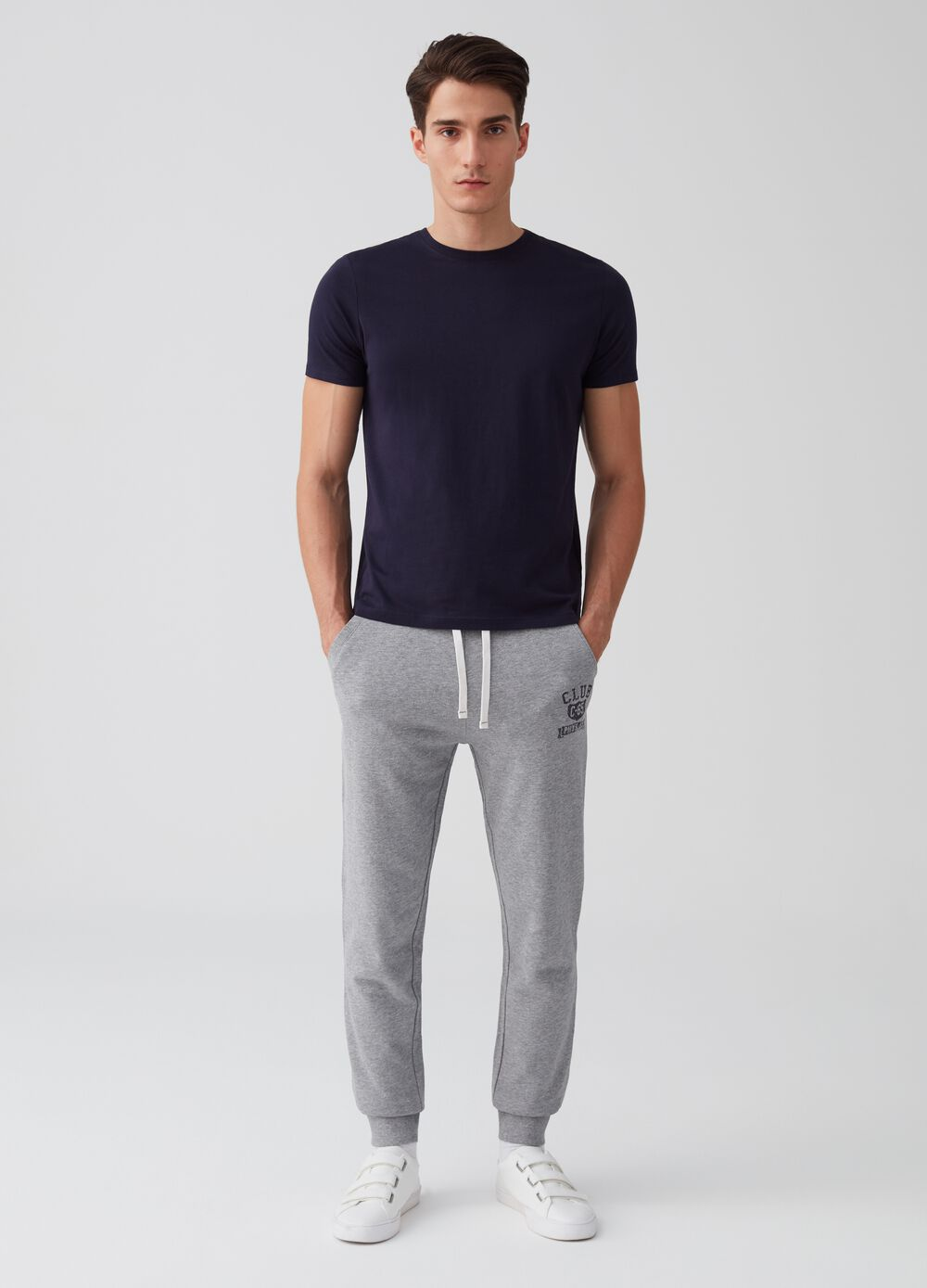 Jogger trousers with pockets and print