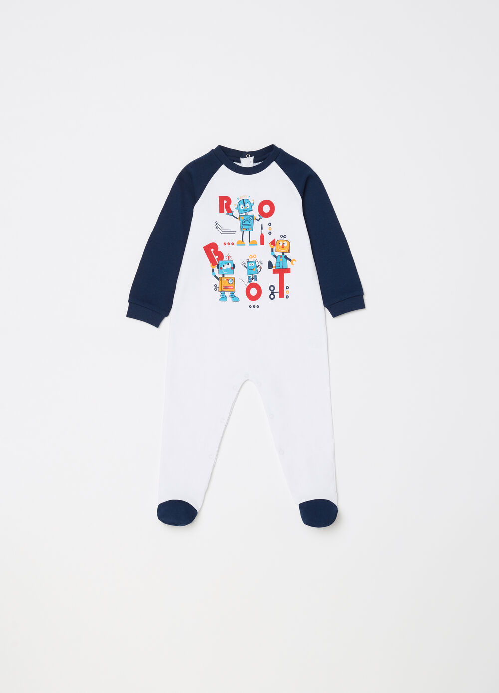 Two-tone onesie with feet and robot print