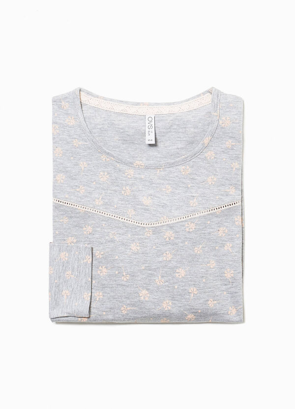 Floral pyjama top with flounce