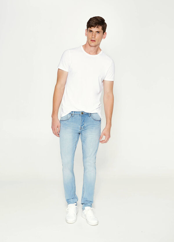 Skinny-fit stretch jeans with fading
