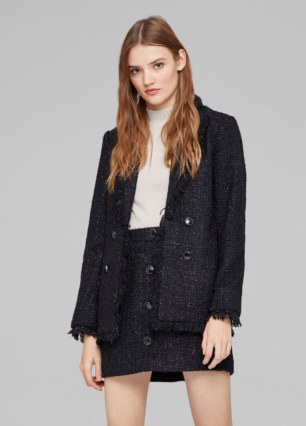 Solid colour tweed single-breasted blazer