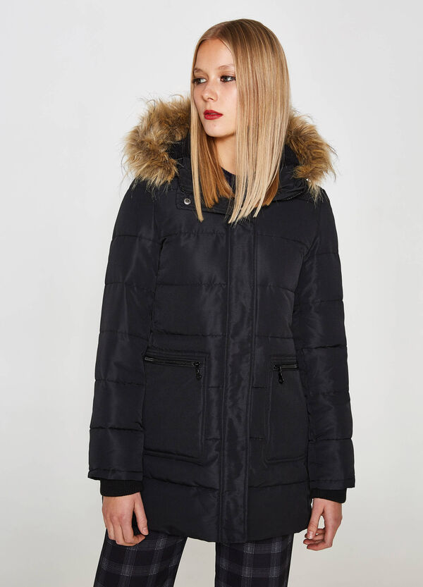 Long down jacket with fur