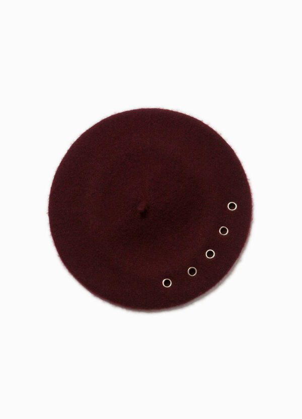 Solid colour wool beret with eyelets | OVS
