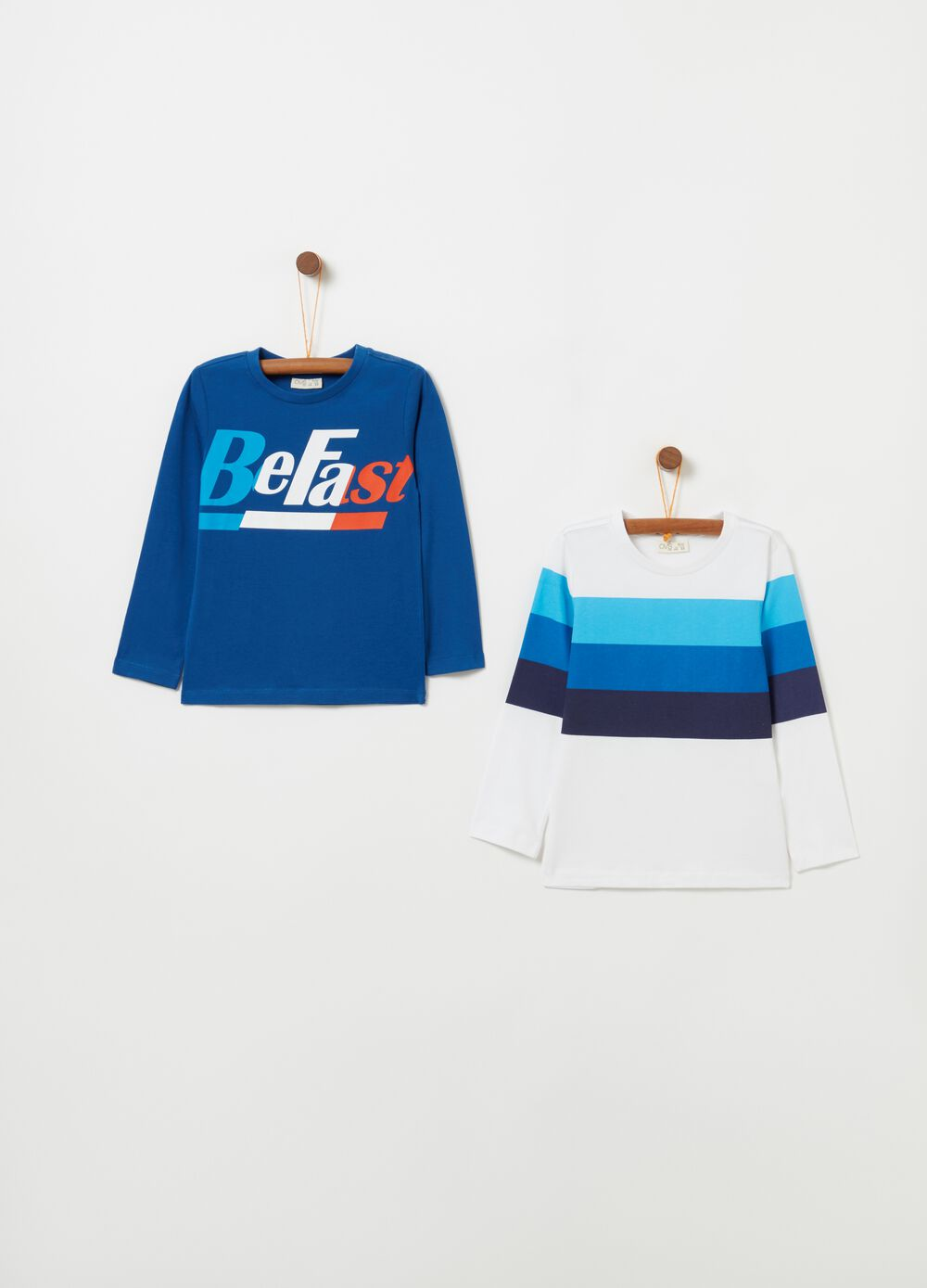 Two-pack 100% cotton T-shirt with print
