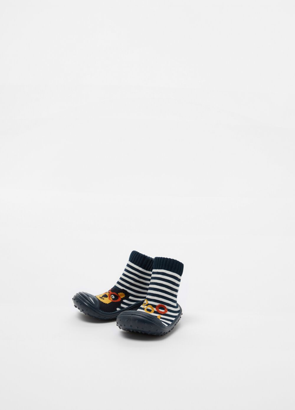 Sock slippers with striped pattern